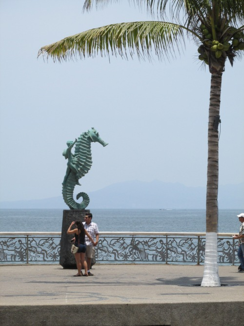 On the malecon - the symbol of Puerto Vallarta - a boy riding a seahorse.